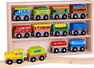 Pidoko Kids Wooden Train Set - 12 Pcs Engines Cars - Compatible with Thomas Train Set Tracks and Major Brands - Perfect Toy for Boys and Girls