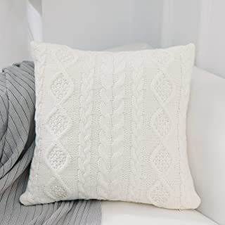 iHogar Cushion Case Covers Knitted Throw Pillows Covers Christmas Thanksgiving Home Decor Cotton Soft Square Pillowcase for Sofa Bedroom Office Car, Off White 18x18 Inch 45cm
