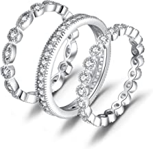 JewelryPalace Wedding Bands Wedding Rings For Women Anniversary Eternity Bands 3 Stackable Rings CZ Engagement Bridal Milgrain Marquise Infinity 925 Sterling Silver Ring Sets Size 4-12