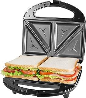 Sandwichera Electrica con Capacidad para 2 Sándwiches Tostados de 750W, Toast Acero Inoxidable Antiadherente 2 Sandwiches y 2 Indicadores Luminosos, Libre BPA, Negro con Asas de Cool Touch