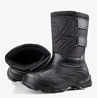 Honored Bottes de neige épaisses et imperméables pour homme dans le tube ou en velours amovible (couleur : Velcro noir une...