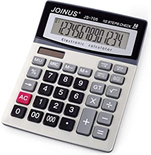 Large 14-Digit LCD Display Desktop Calculator with Check & Correct Function, Solar Battery Dual Power Calculator, Large Co...