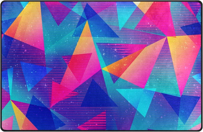 U Life colorful Rainbow Geometric Triangle Large Doormats Area Rug Runner Floor Mat Carpet Entrance Way Living Room Bedroom Kitchen Office 36 x 24 inch