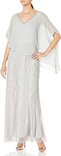 J Kara Women's Beaded Bottom with Sheer Elegant Top Dress