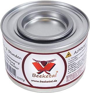 Allround-Tipp Beeketal Brennpaste - 72 x 200g Sicherheitsbrennpaste Dosen, ca. 2-3 Std. Brenndauer pro Dose, sauber und geruchlos, für z.B. Fondue oder Chafing Dish Speisewärmer - 72er Pack 72 x 200g Dosen