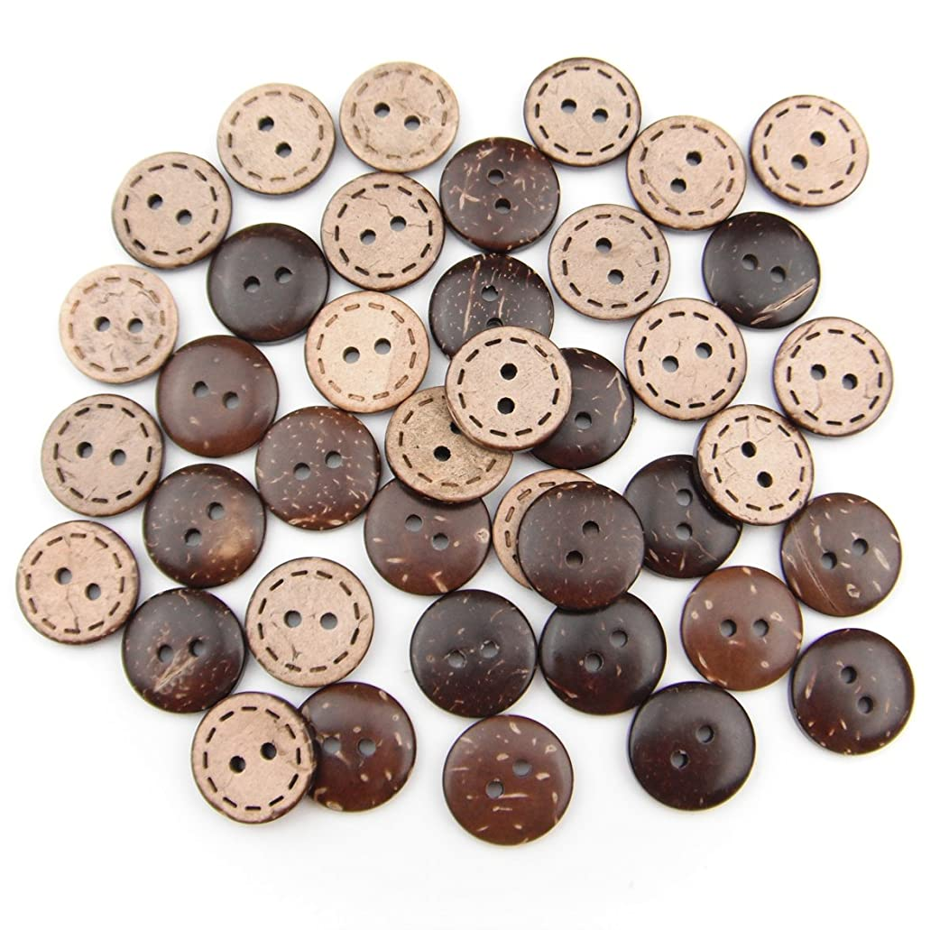 ALL in ONE Brown 2 Holes Coconut Shell Sewing Buttons Clothing Accessories (15MM, 40PCS)
