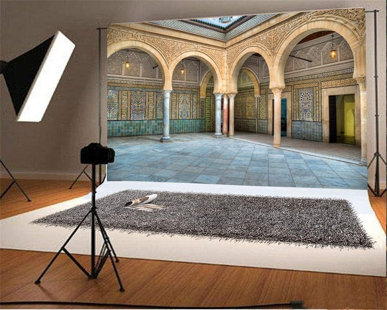 Laeacco 10x8ft Courtyard of Zaouia of Sidi Sahab Vinyl Photography Background Vintage Islam Mosque Scenic Backdrop Arabic Cultural Relics Scenic Spot Historical Architecture Studio Props