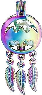 10pcs Colored Batman Wish Dream Catcher Pearl Beads Cage Locket Pendant Aroma Essential Oil Diffuser Locket DIY Necklace Earrings Bracelet Jewelry Making Supplies (Batman)
