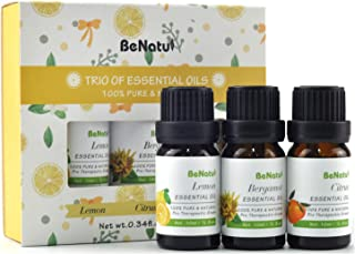 Benatu Essential Oils Gift Set(Lemon, Citrus, Bergamot), Pure and Organic Beginners Kit for Aromatherapy, Diffuser, Massage, Bath 3 Packs