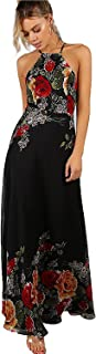 Women's Sleeveless Halter Neck Vintage Floral Print Maxi Dress