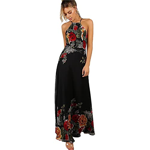 a44147540f57 Floerns Women s Sleeveless Halter Neck Vintage Floral Print Maxi Dress