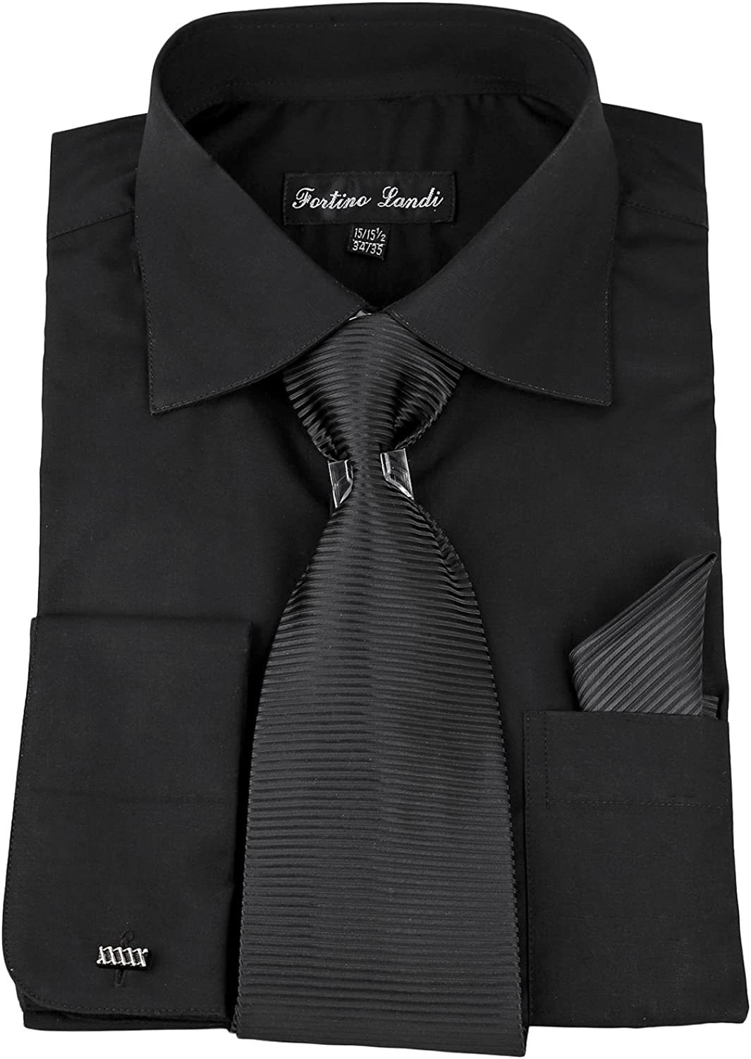 Milano Moda Solid Classic Dress Shirt with Tie, Hankie & French Cuffs SG27