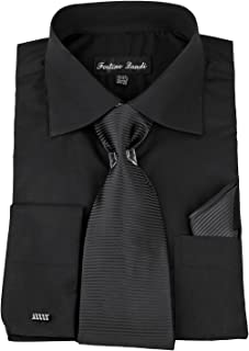 Mens Solid Classic Dress Shirt with Tie, Hankie & French Cuffs SG27