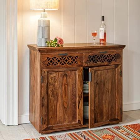 DriftingWood Solid Sheesham Wood Side Board Cabinet with Drawers for Living Room   for Kitchen & Dining Room   Honey Finish