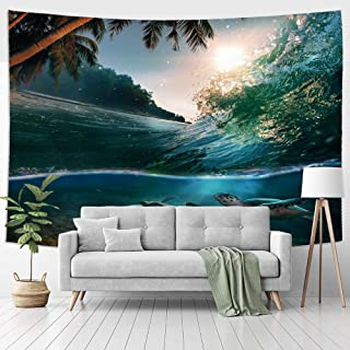 Jhdstore Queen Size Ocean Wave Sea Turtle Tapestry Wall Art Hanging Decorative Tapestries Polyester Bedspread Picnic Blank...