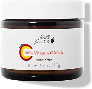 100% PURE 50% Vitamin C Mask, Powder Face Mask, Supports Collagen, Elastin Production, Brightens Complexion, Reduces Dark ...