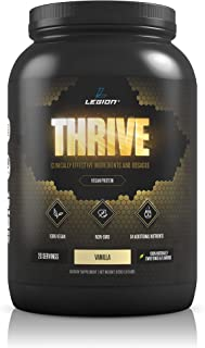 Legion Thrive Vegan Protein Powder, Vanilla - Rice and Pea, Plant Based Protein Blend. Gluten Free, GMO Free, Naturally Sweetened and Flavored, 20 Servings, 2 Lbs (Vanilla)