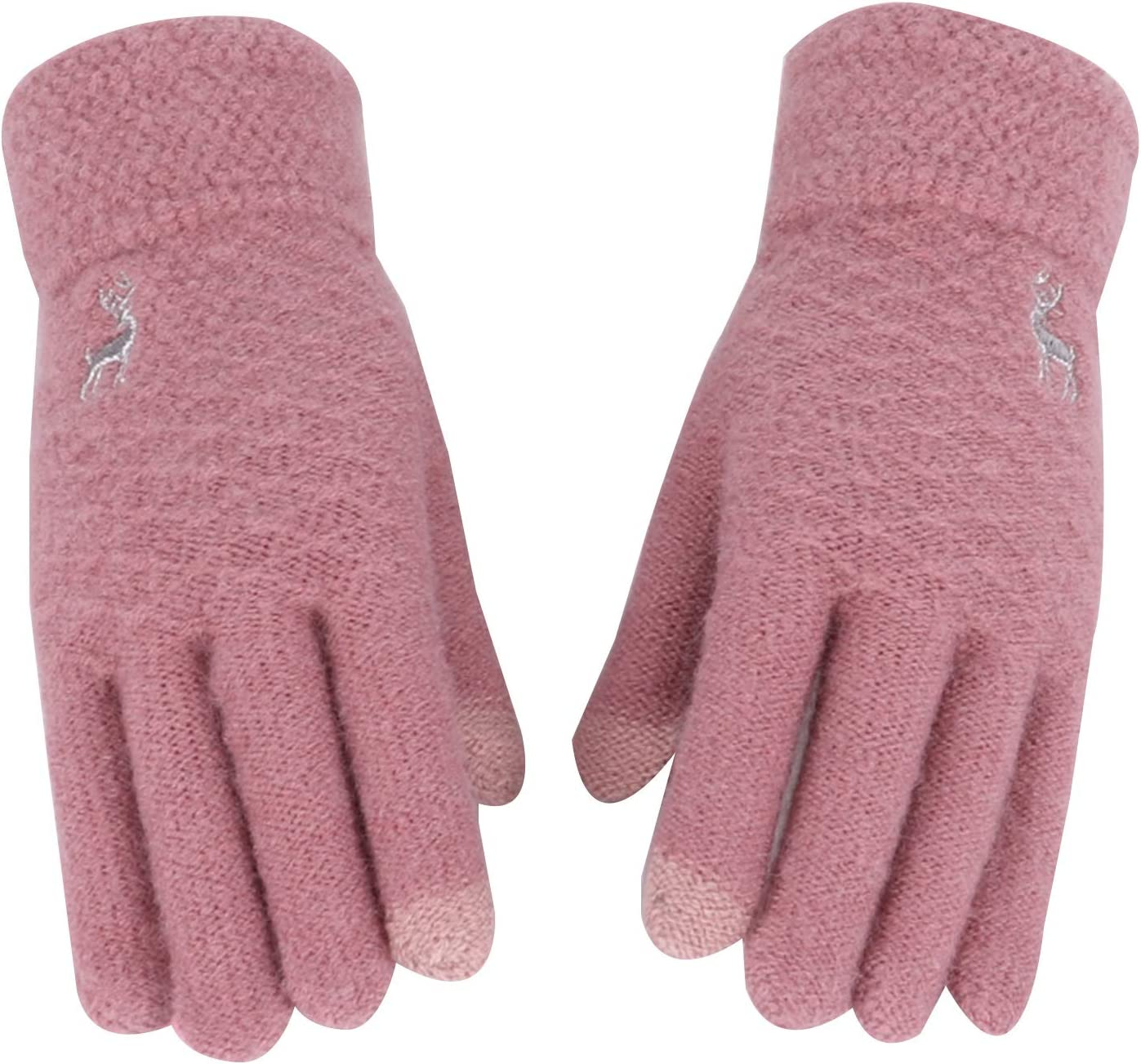 FOLDING Gloves Women's Winter Touch Screen Gloves Warm Touch Screen Finger Texting Elastic Cuff Warm Gloves (Color : Pink)
