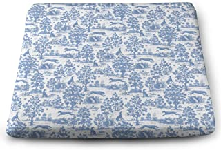 NiYoung Square Seat Cushion, Non-Slip Memory Foam Home/Kitchen/Dining Chair Pads, Blue Greyhound Toile Fashion Decoration Cushion Durable Pads, 15 X 13.7 Inches