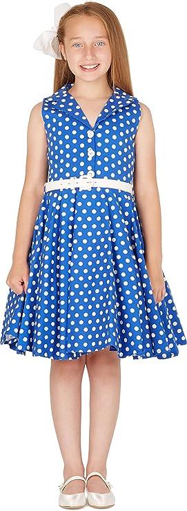 Kids 1950s Clothing & Costumes: Girls, Boys, Toddlers BlackButterfly Kids Holly Vintage Polka Dot 50s Girls Dress  AT vintagedancer.com