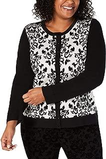 Charter Club Womens Plus Size Floral-Print Cardigan (Vanilla Bean,1X)