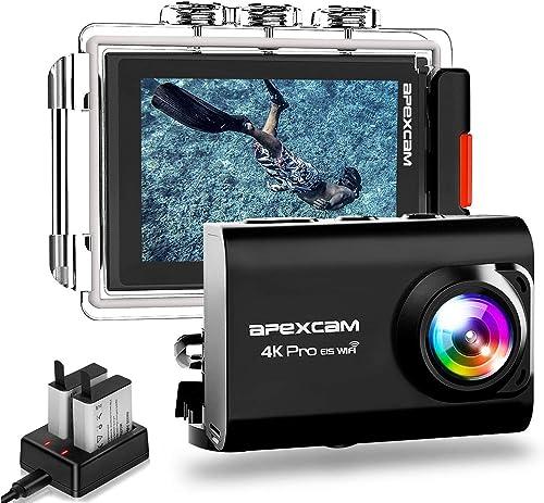 ApexcamAction Cam Pro【Aggiornato】4K 20MP Fotocamera EIS WIFI 2 Pollici Ultra HD Impermeabile 40M Sott'acqua con Mic...