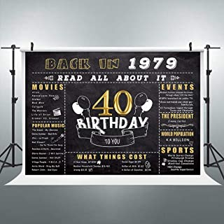 Riyidecor 40th Happy Birthday Gold and Black Backdrop Anniversary Decorations 7x5 Feet Golden Fifty Years Old Back in 1979 Photography Background Adult Party Celebration Props Photo Shoot Vinyl Cloth