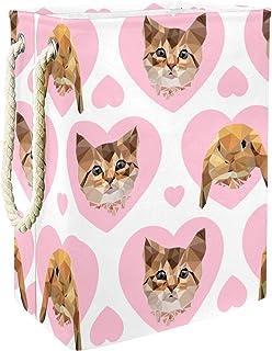 EZIOLY Panier à linge pliable en forme de chat rose avec poignées et supports amovibles et étanche pour organiser les vête...