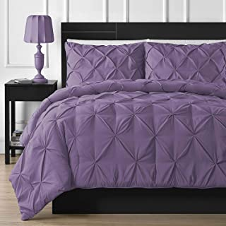Crown Royal Hotel Collection 1000-TC Hypoallergenic Ultra Soft 100% Egyptian Cotton 98x108 inch Super King Size Purple Solid Pinch Plated Duvet Cover with Zipper Colser & 2pcs Pillow Case Set