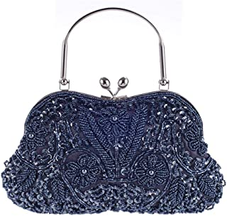 MDSQ Ms. Fashion Shoulder Bag Wild Hand-ethnic Beaded Bag Bag Dinner Will Clutch (24 * 14 * 3CM) Fashion personality (Color : Gray)