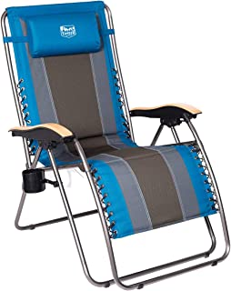 Timber Ridge Zero Gravity Locking Patio Outdoor Lounger Chair Oversize XL Padded Adjustable Recliner with Headrest Support 350lbs, Blue