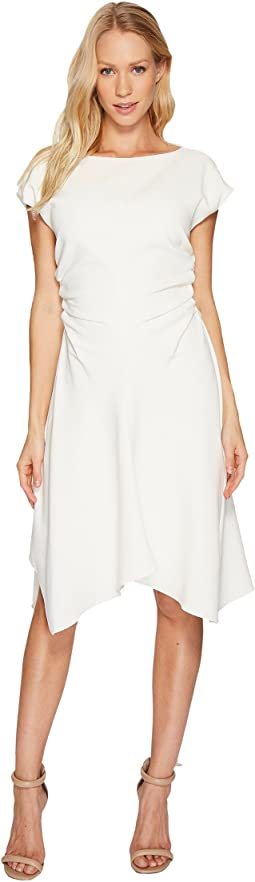 Halston Heritage - Short Sleeve Wide Boat Neck Dress w/ Waist Gathers