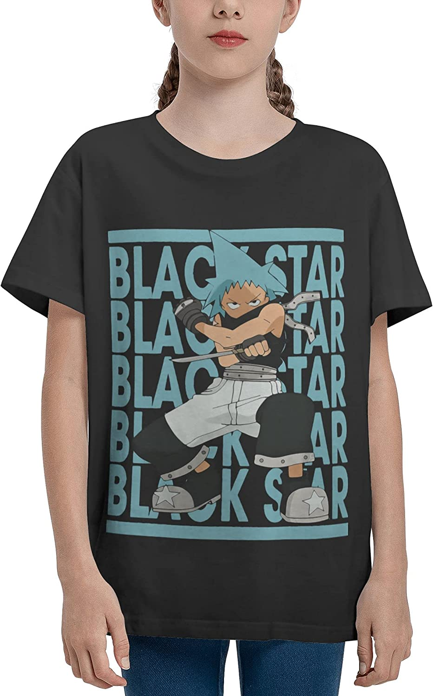 JarBruan Unisex Kid Manga Anime Boy Girls Tee Short Sleeve Cotton Cartoon T-Shirts for Child School Black