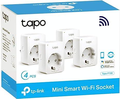 TP-Link Tapo P100 (4-pack) - WiFi Enchufe Inteligente Mini tamaño para Controlar su Dispositivo Desde Cualquier Lugar, sin Necesidad de Concentrador, Compatible con Amazon Alexa y Google Home
