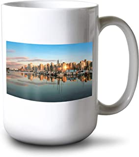 Vancouver, BC, Canada - Skyline from Stanley Park at Sunset - Photography A-93923 (15oz White Ceramic Mug)