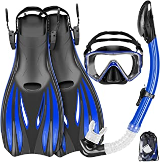 Mask Fins Snorkel Set Snorkeling Gear for Adults, Swim Goggles Panoramic View Anti-Fog Anti-Leak, Dry Top Snorkel and Dive...