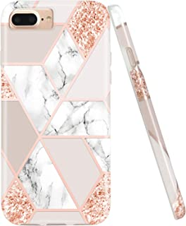 JIAXIUFEN Sparkle Glitter Shiny Rose Gold Metallic Marble Desgin Slim Shockproof Flexible Bumper TPU Soft Case Rubber Silicone Cover Phone Case Compatible with iPhone 7 Plus/8 Plus/6 Plus/6S Plus