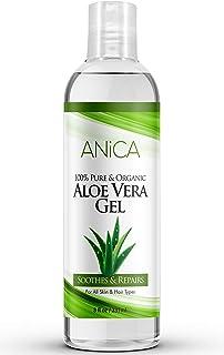 Aloe vera gel de Anica | Crema hidratante natural y pura para la piel y el cabello | Para quemaduras de sol, caspa, eczema, cortes, erupciones, cicatrices, acné, uñas | Orgánica y sin crueldad.