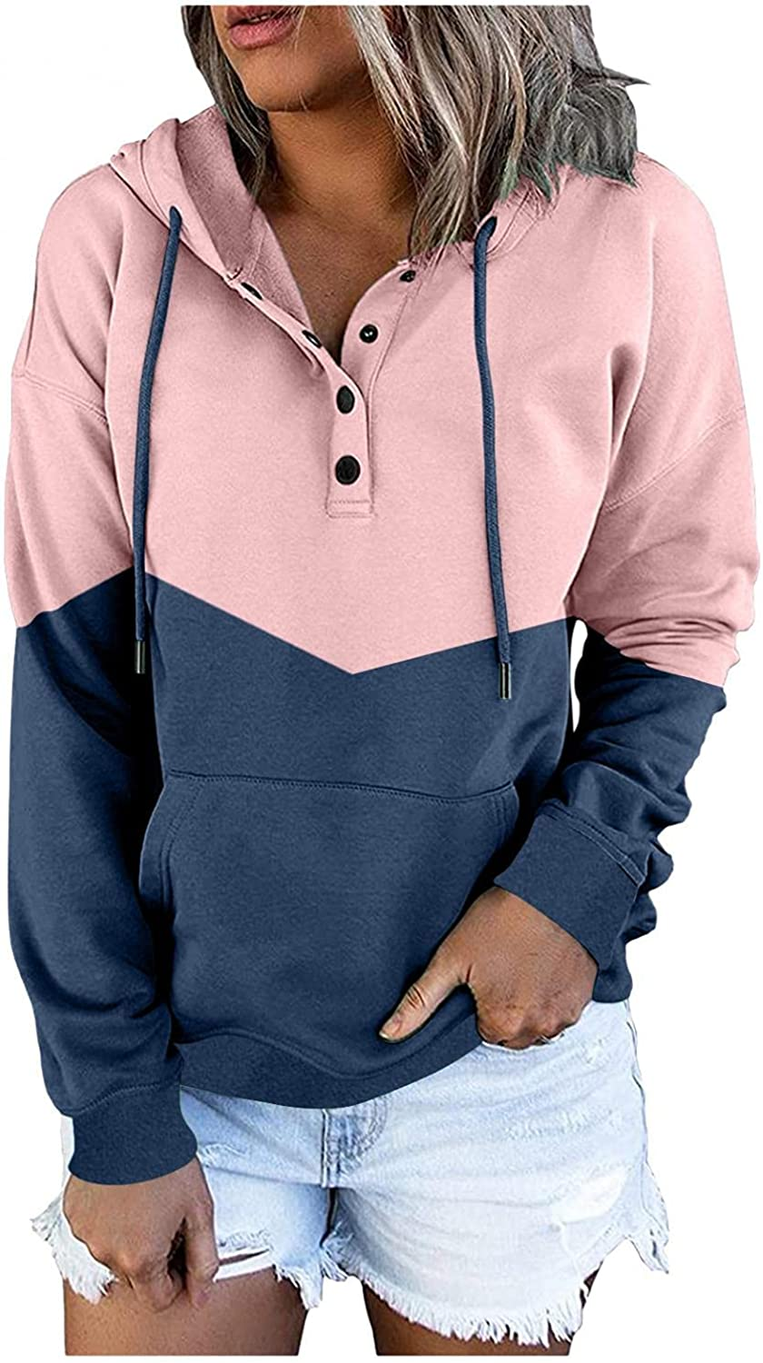 siilsaa Hoodies for Women Girls Color Sw Cheap bargain Button Tunic Down Block Max 66% OFF