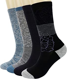 PlusAg 4P Pack Women's Merino Wool Micro Crew Cushion Socks