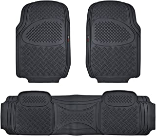 Motor Trend HD FlexTough Rubber Floor Mats for Car Truck SUV & Van - 100% Odorless & Super Heavy Duty (Black) - MT813BKAMw1
