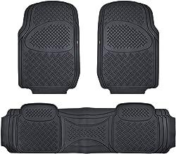 Motor Trend HD FlexTough Rubber Floor Mats for Car Truck SUV & Van - 100% Odorless & Super Heavy Duty (Black) - MT813BKAMw1