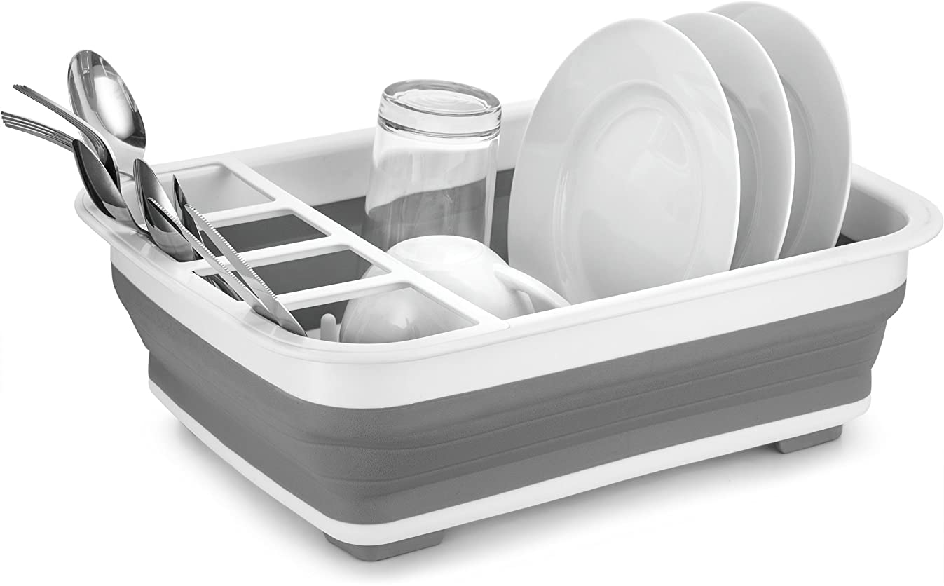 Home Basics Silicone and Plastic Easy Storage Collapsible Dish Rack and Cutlery Holder White