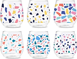 TOSSWARE POP 14oz Vino Colorful Terrazzo Series, SET OF 6, Recyclable, Unbreakable & Crystal Clear Plastic Printed Glasses