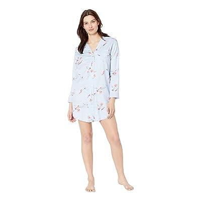 LAUREN Ralph Lauren Pointed Notch Collar Sleepshirt (Blue Floral Print) Women