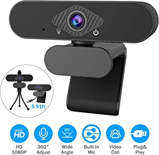 Webcam with Microphone, 1080P Full HD Webcam Streaming Computer Web Camera USB Computer Camera with Free Tripod and Privac...