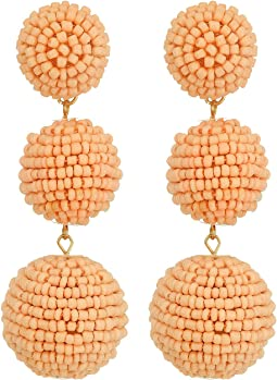 2 Peach Pink Seed Bead Wrapped Ball Post Earrings w/ Dome Top