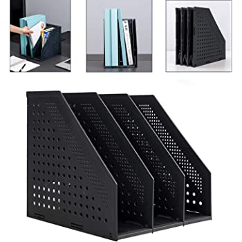 Deli Collapsible Magazine File Holder/Desk Organizer for Office Organization and Storage with 3 Vertical Compartments