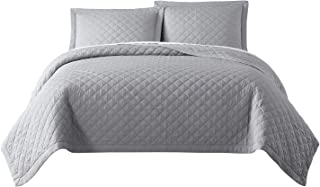 Chezmoi Collection Owen 3-Piece Soft Cooling Bamboo Fiber Quilt Bedspread Diamond Quilted Coverlet Set (King, Light Gray)