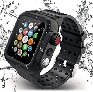ADDSMILE Compatible for Apple Watch Band with Case 44mm Series 5/4, Waterproof Case with Soft Silicone Band and Anti-Scratch Screen Protector, 360°Protective Case Compatible with iWatch 44mm-Black